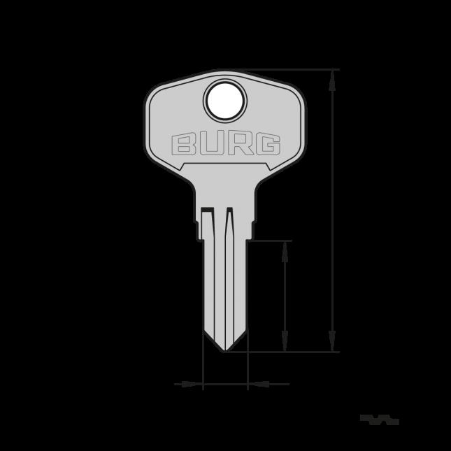 Original BURG® Schlüsselrohling (Typ F) für den Einsatz in Präzisions-Schlüsselfräsmaschinen (Schlüsselkopiermaschinen)