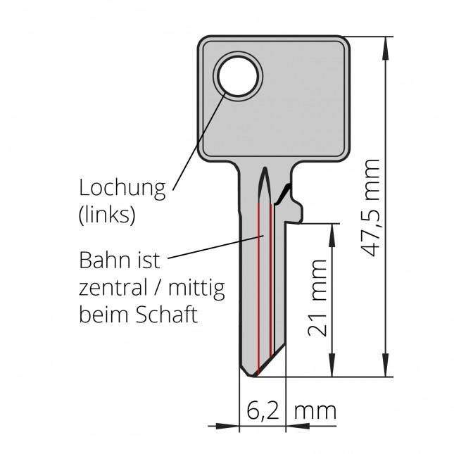 BURG Schlüssel Typ L, z.B. für Geldkassetten