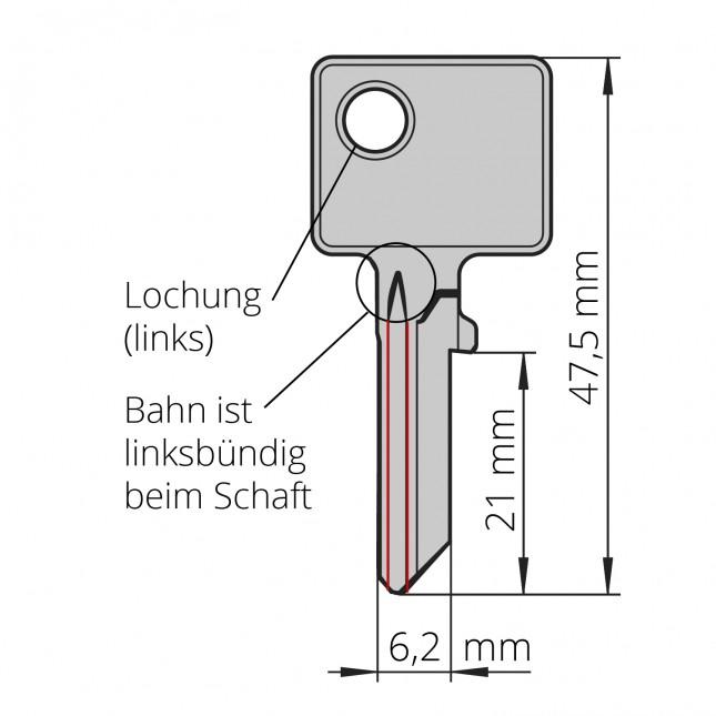 BURG-Schlüssel Typ R, z.B. für Briefkästen und diverse Universalzylinder